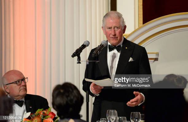 Prince Charles Prince of Wales makes a speech as he attends a dinner in aid of the Australian bushfire relief and recovery effort at Mansion House on...