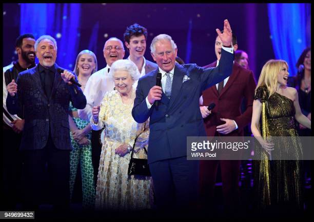 Prince Charles Prince of Wales makes a speech for Queen Elizabeth II at a starstudded concert to celebrate the her 92nd birthday at the Royal Albert...