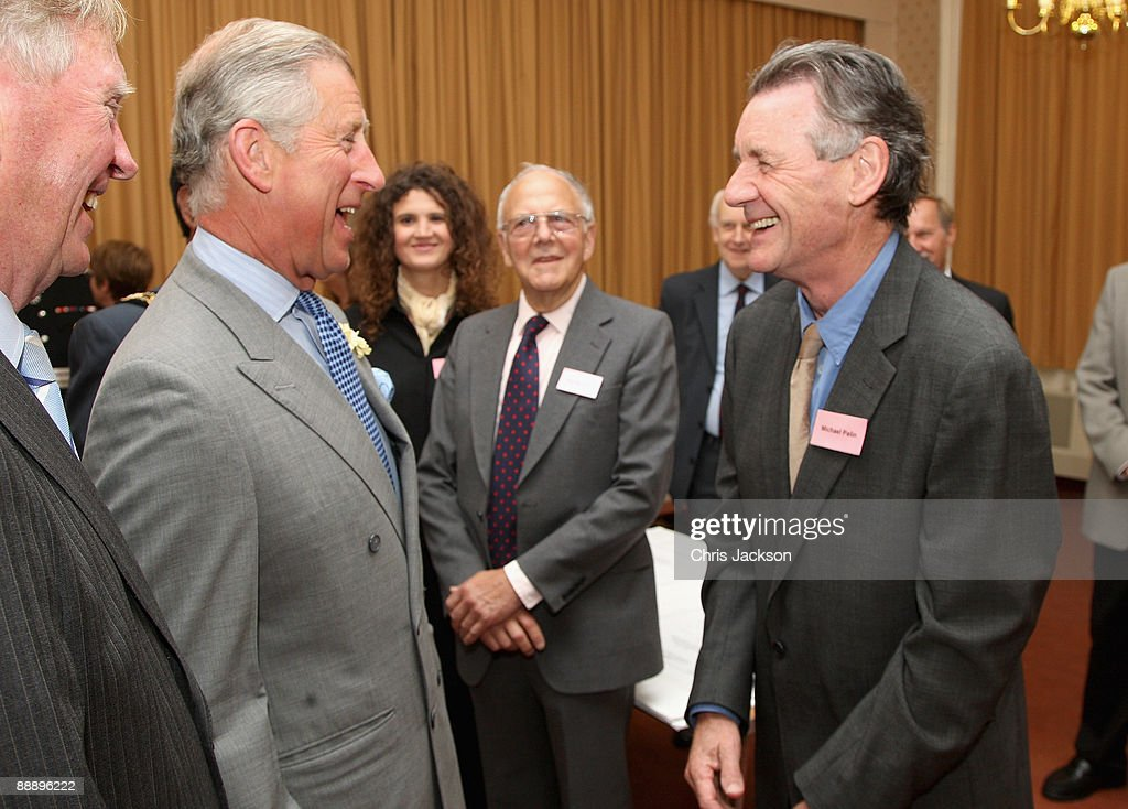 Prince Charles, Prince of Wales meets actor and Almshouse supporter Michael Palin as he visits St Pancras Almshouses on July 8, 2009 in London, England. The Prince of Wales, patron of The Almshouse Association, presented the Patron's Awards and met residents and community leaders to celebrate the 150th anniversary of the Almshouses.