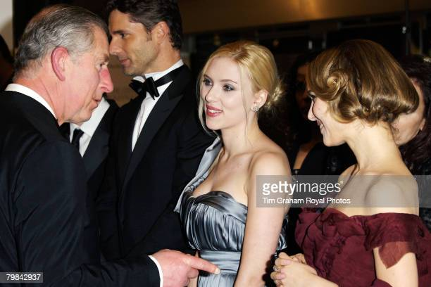 Prince Charles Prince of Wales meets actresses Scarlett Johansson and Natalie Portman at the movie film premiere of 'The Other Boleyn Girl' held at...