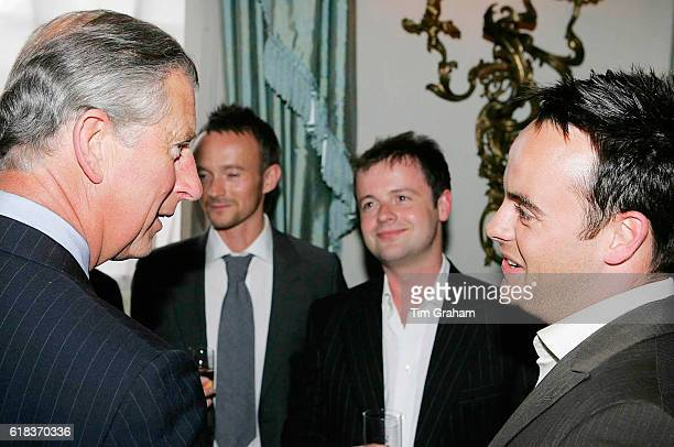 JUNE 2006*** Prince Charles Prince of Wales meets Ant McPartlin and Declan Donnelly at a reception at Clarence House for those supporting a concert...