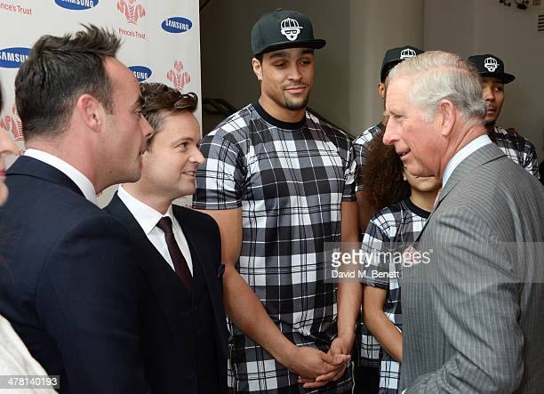 Prince Charles Prince of Wales meets Anthony McPartlin Declan Donnelly and Ashley Banjo attend the Prince's Trust Samsung Celebrate Success awards at...