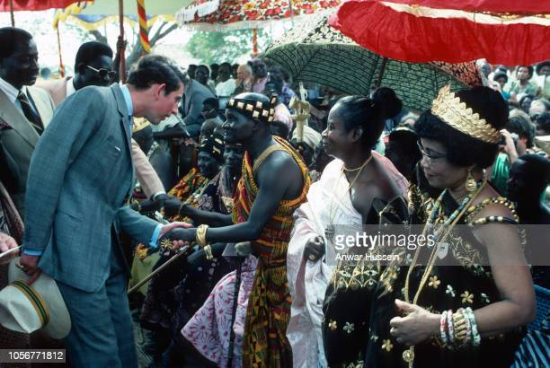 Prince Charles Prince of Wales meets Ashanti chiefs and their wives as he attends a durbar in his honour when he visits the Ashanti tribe on March 01...
