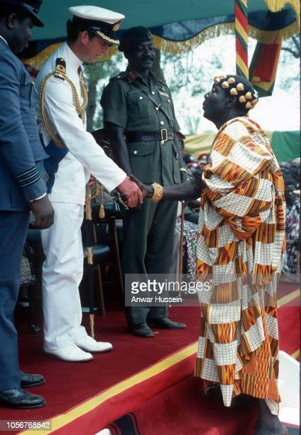 Prince Charles Prince of Wales meets Ashanti chiefs as he attends a durbar in his honour when he visits the Ashanti tribe on March 01 1977 in Kumasi...