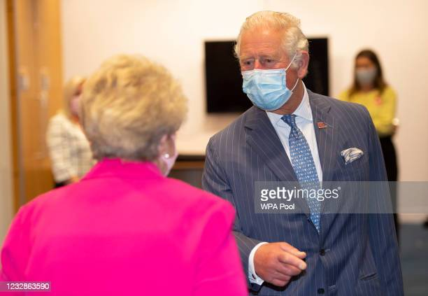 Prince Charles, Prince of Wales meets Audrey Phillips from Stanmore during a visit to the Breast Cancer Now Toby Robins Research Centre, 21 years...