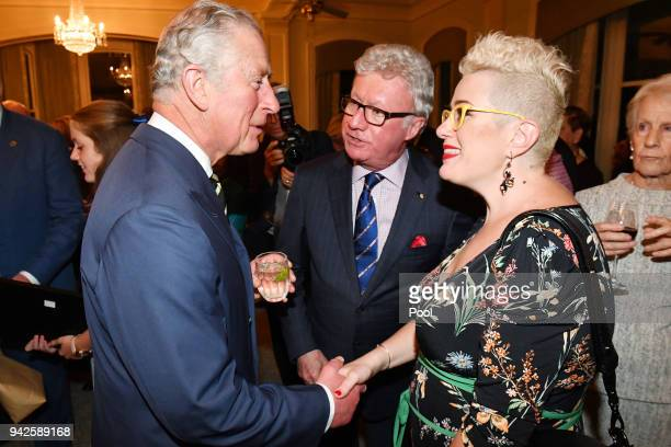 Prince Charles Prince of Wales meets Australian Singer Katie Noonan at a reception at Queensland Government House in Brisbane on April 6 2018 in...