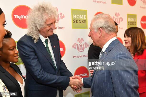 Prince Charles Prince of Wales meets Brian May at the annual Prince's Trust Awards at the London Palladium on March 13 2019 in London England