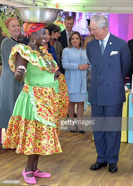 Prince Charles Prince of Wales meets Carribbean Themed guests at a Sustainability Fair at the Ambassador's Residence on October 29 2014 in Bogota...