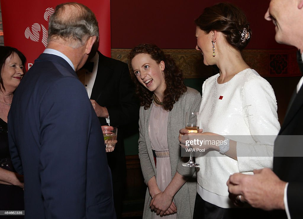 Prince Charles, Prince of Wales meets Catriona Glover (C) and Katie Durham (R) during a leadership reception hosted by The Prince's Trust at The Royal Courts of Justice on January 23, 2014 in London, England.