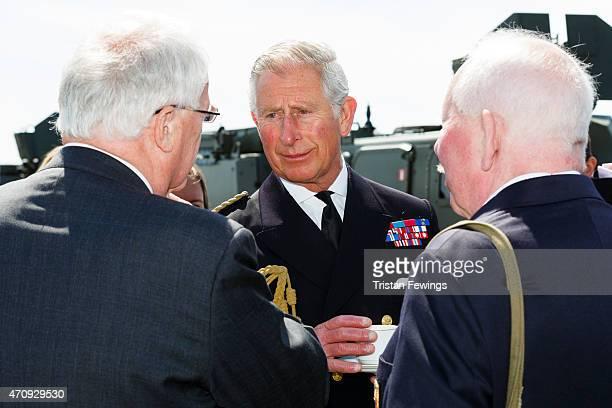 Prince Charles Prince of Wales meets decendants of the Gallipoli campaign on HMS Bulwark on April 24 2015 in Seddulbahir Turkey Turkish and Allied...