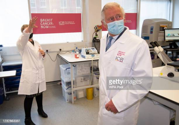 Prince Charles, Prince of Wales meets Dr Rachel Brough, Senior Scientific Officer, during a visit to the Breast Cancer Now Toby Robins Research...