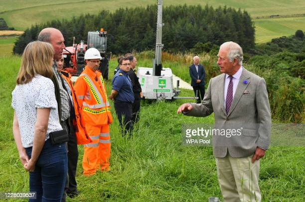 Prince Charles Prince of Wales meets first responders who attended the scene of the ScotRail train derailment near Stonehaven Aberdeenshire which...