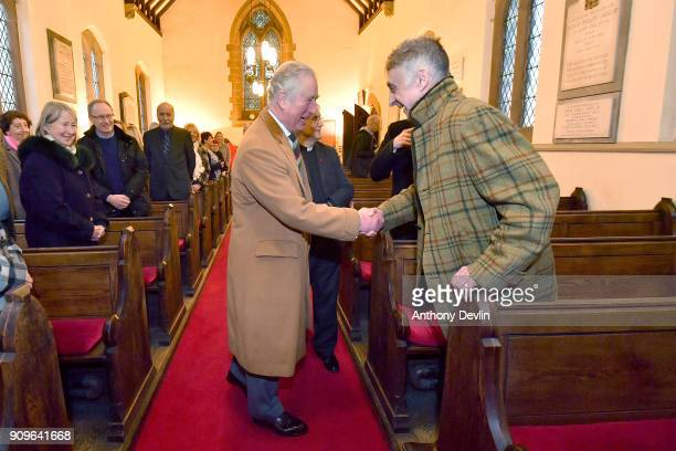 Prince Charles Prince of Wales meets former Highgrove organist Alan Myerscough as he visits Norcliffe Unitarian Chapel at Quarry Bank Mill in...
