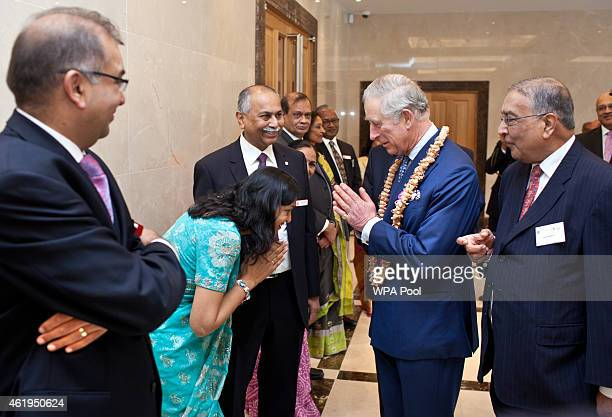 Prince Charles Prince Of Wales meets guests during a tour of the Jain Temple on January 22 2015 in Potters Bar Hertfordshire England The Prince Of...