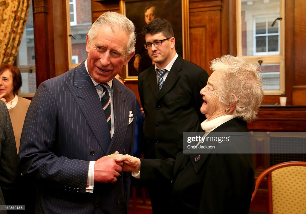 Prince Charles, Prince of Wales meets Holocaust survivor Ann Kirk at a Holocaust Memorial Day Ceremony at Central Hall Westminster on January 27, 2015 in London, England.