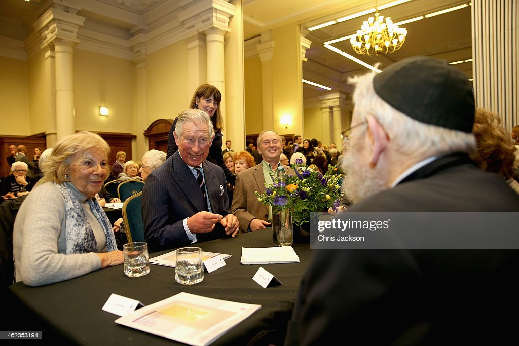 Prince Charles, Prince of Wales meets Holocaust survivors at a Holocaust Memorial Day Ceremony at Central Hall Westminster on January 27, 2015 in London, England.