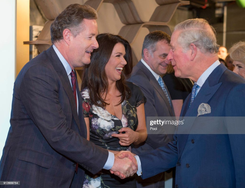 Prince Charles, Prince of Wales meets journalists Piers Morgan (L) and Susanna Reid during a visit to ITV's 'Good Morning Britain' to celebrate the 90th anniversary of the Royal Television Society at London Television Centre on January 31, 2018 in London, United Kingdom.