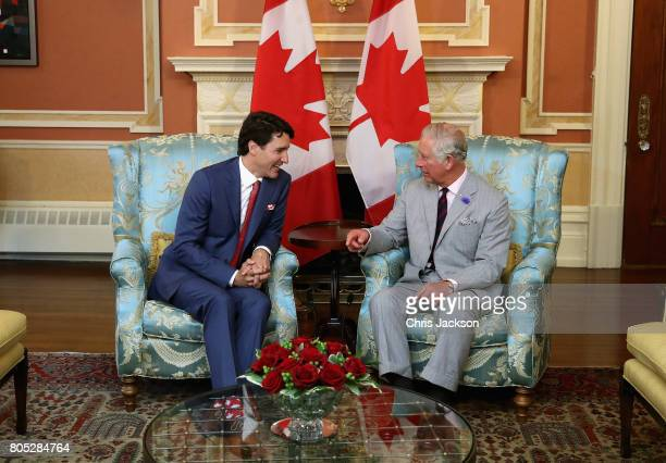 Prince Charles Prince of Wales meets Justin Trudeau Prime Minister of Canada at Rideau Hall during a 3 day official visit to Canada on July 1 2017 in...