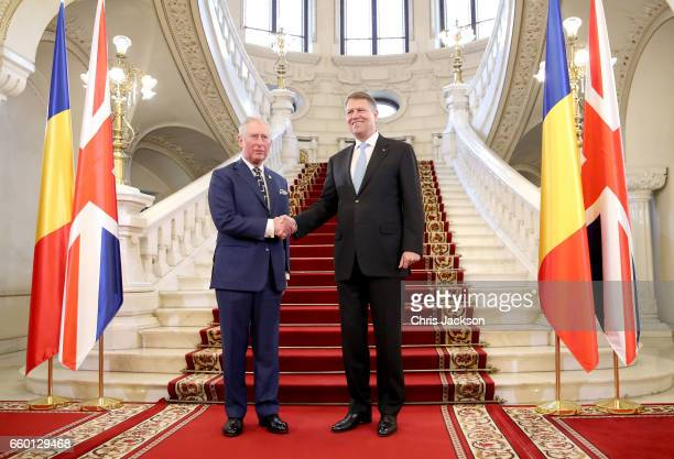 Prince Charles Prince of Wales meets Klaus Iohannis President of Romania at Cotroceni Palace during day one of his visit on March 29 2017 in...