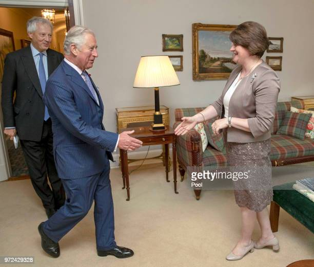 Prince Charles Prince of Wales meets leader of the Democratic Unionist Party Arlene Foster at Hillsborough Castle on June 12 2018 in County Down...