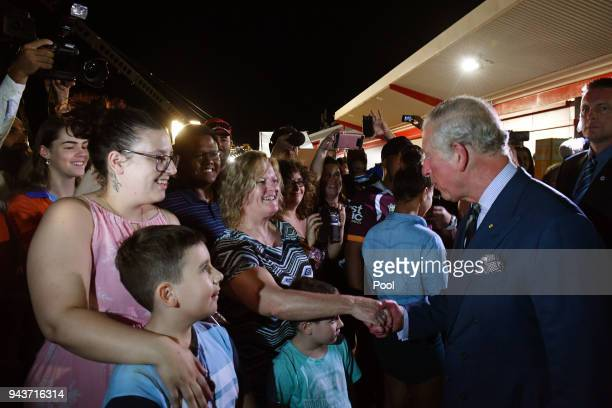 Prince Charles Prince of Wales meets locals before a community reception at the Royal Flying Doctors Service Tourist Facility in Darwin on April 9...
