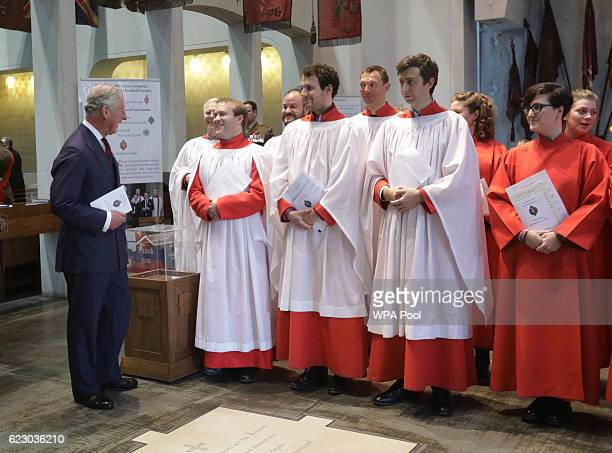 Prince Charles, Prince of Wales meets members of the choir in The Guards' Chapel in Wellington Barracks, London where a service was held for the...