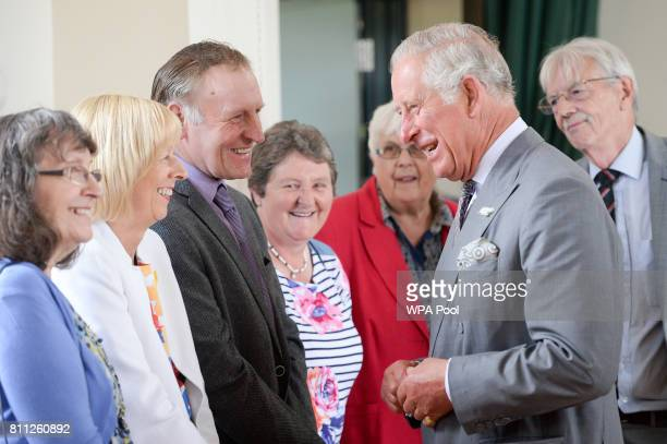 Prince Charles Prince of Wales meets members of the community at Myddfai Community Hall in Llandovery on July 9 2017 in Myddfai Wales