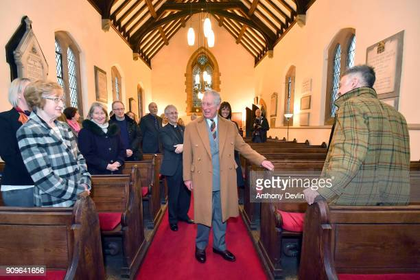 Prince Charles Prince of Wales meets members of the congregation and former Highgrove organist Alan Myerscough as he visits Norcliffe Unitarian...