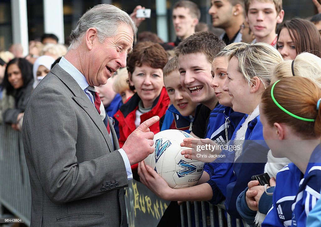 Prince Charles, Prince of Wales meets members of the public and students as he leaves Burnley College / University of Central Lancashire Campus on February 5, 2010 in Burnley, England. The Prince of Wales met people supported by the Burnley Enterprise Development Programme, entrepreneurs assisted by the Prince's Trust and students participating in a traditional arts workshop during his visit.