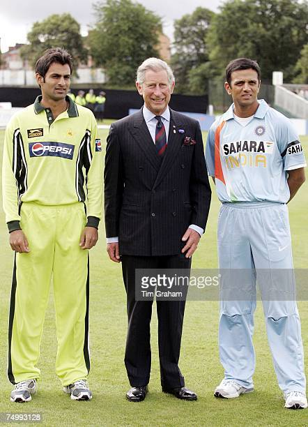 Prince Charles Prince of Wales meets Pakistan's Captain Shoaib Malik and India's Captain Rahul Sharad Dravid ahead of their Future Friendship Cup One...