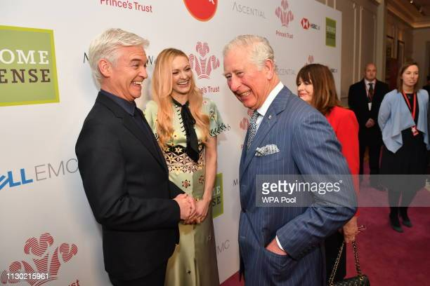 Prince Charles Prince of Wales meets Phillip Schofield at the annual Prince's Trust Awards at the London Palladium on March 13 2019 in London England