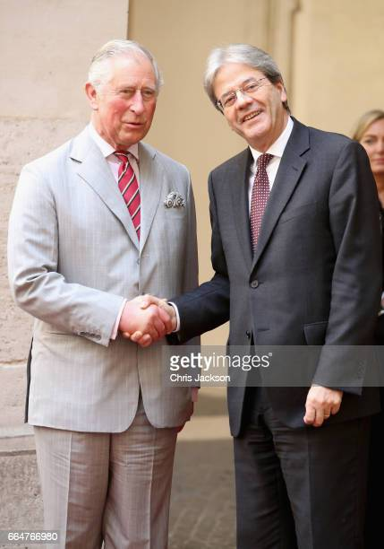 Prince Charles Prince of Wales meets Prime Minister of Italy Paolo Gentiloni as he arrives at Palazzo Chigi on April 5 2017 in Rome Italy HRH and the...