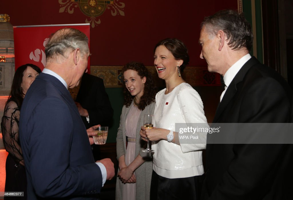 Prince Charles, Prince of Wales meets Prince's Trust Young Ambassador Catriona Glover, Katie Durham (2nd R) and Richard Scudamore, Chief Executive of the Premier League during a leadership reception hosted by The Prince's Trust at The Royal Courts of Justice on January 23, 2014 in London, England.