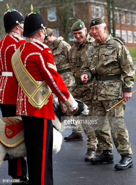 Prince Charles Prince of Wales meets Private Derby XXII a Swaledale Ram and the Regimental Mascot as he inspects the troops as he visits 1st...
