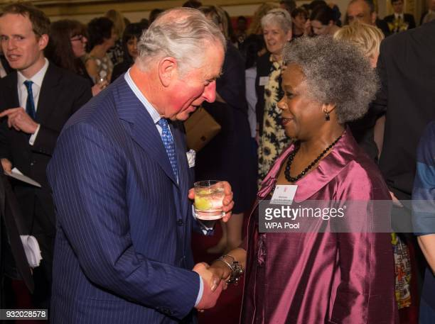 Prince Charles Prince of Wales meets Professor Dame Donna Kinnair of the Royal College of Nursing at a reception to celebrate frontline nursing in...