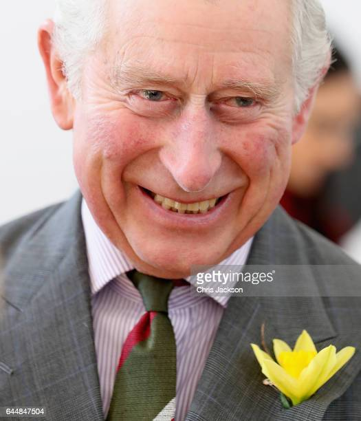 Prince Charles Prince of Wales meets pupils and teachers involved in a climate change education programme run by the charity Size of Wales at...