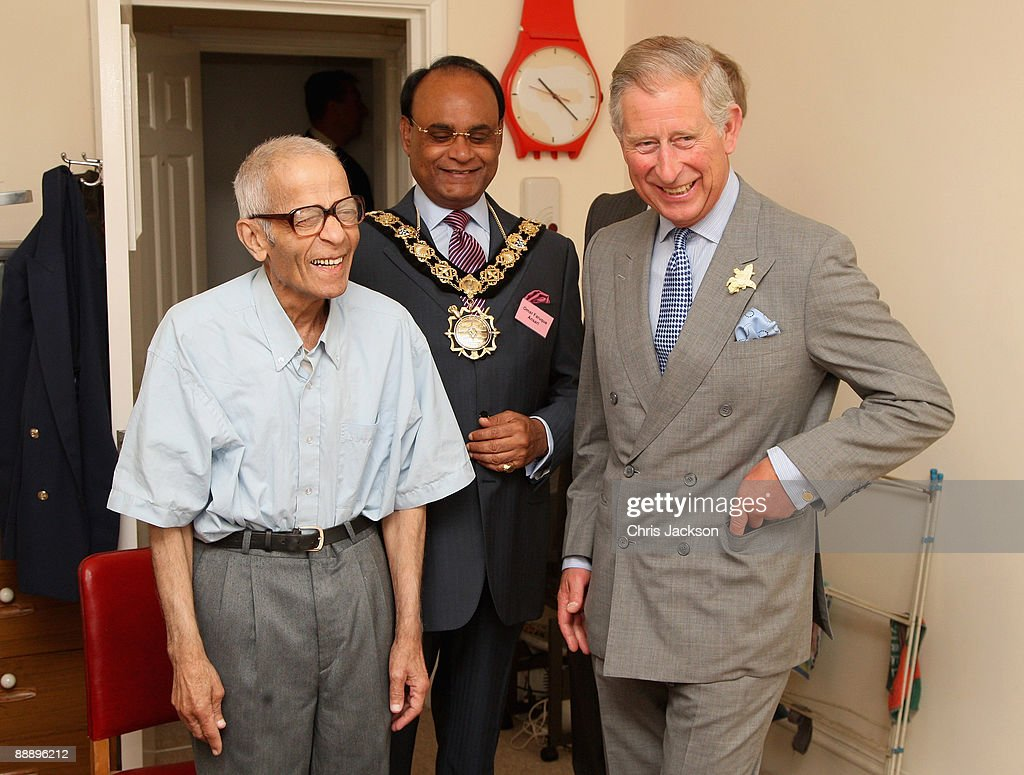 Prince Charles, Prince of Wales meets resident Yusuf Kurtha in his accomodation as he visits St Pancras Almshouses on July 8, 2009 in London, England. The Prince of Wales, patron of The Almshouse Association, presented the Patron's Awards and met residents and community leaders to celebrate the 150th anniversary of the Almshouses.