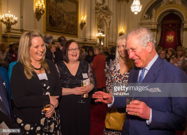 Prince Charles Prince of Wales meets Royal College of Nursing Nurse of the Year Melanie Davies at a reception to celebrate frontline nursing in the...