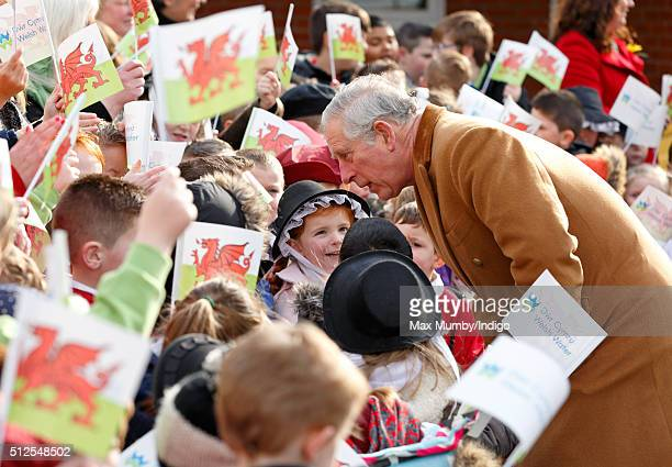 Prince Charles, Prince of Wales meets schoolchildren as he visits Stebonheath Primary School during a day of engagements in Wales on February 26,...