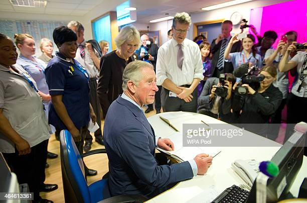 Prince Charles Prince of Wales meets staff during an official visit to King's College Hospital on January 23 2014 in London England