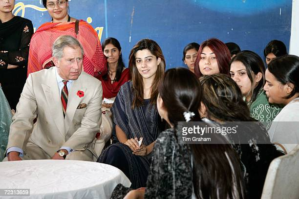 Prince Charles Prince of Wales meets students at the all female Fatima Jinnah University on October 31 2006 in Rawalpindi Pakistan Prince Charles and...