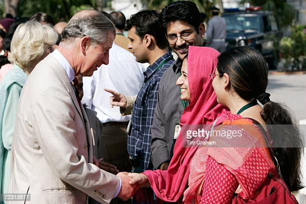 Prince Charles Prince of Wales meets students at the all female Fatima Jinnah University on October 31 2006 in Rawalpindi PakistanPrince Charles and...