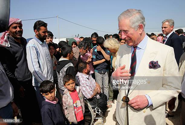 Prince Charles Prince of Wales meets Syrian refugees in the King Abdullah Refugee Camp 2 kilometers from the Syrian border on the third day of a...