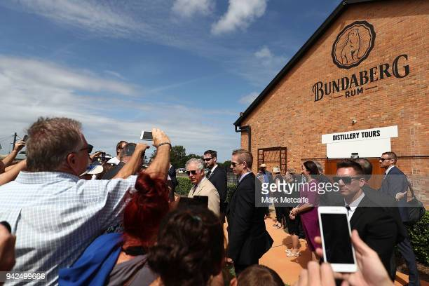 Prince Charles Prince of Wales meets the general public after taking a tour of the Bundaberg Rum Distillery on April 6 2018 in Bundaberg Australia...