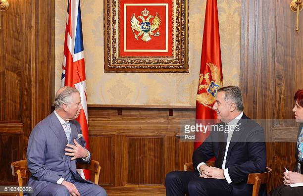 Prince Charles Prince of Wales meets the Prime Minister of Montenegro Milo Dukanovic in Podgorica Montenegro on the fifth day of his and the Duchess...