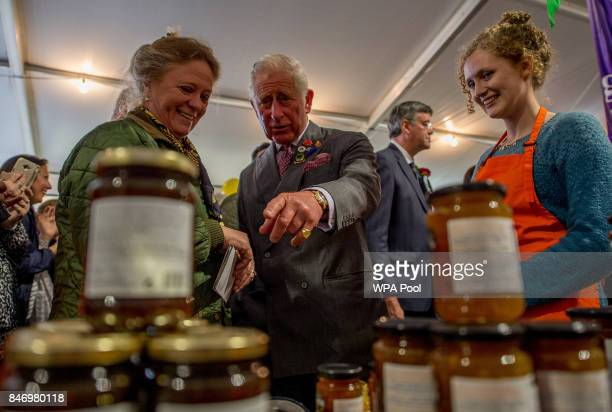 Prince Charles Prince of Wales meets the stall holders at the Dalemain Marmalade as he visits The Westmorland County Show on September 14 2017 in...