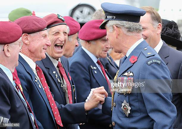 Prince Charles, Prince of Wales meets veterans as New Zealand Prime MinisterJohn Key looks on after an Armistice Day Commemoration at the Auckland...