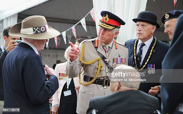 Prince Charles Prince of Wales meets veterans during the 70th Anniversary commemorations of VJ Day at the Royal British Legion reception in the...