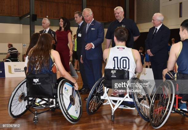 Prince Charles Prince of Wales meets wheelchair basketball players during a visit to Ulster University's Colraine Campus on June 12 2018 in County...