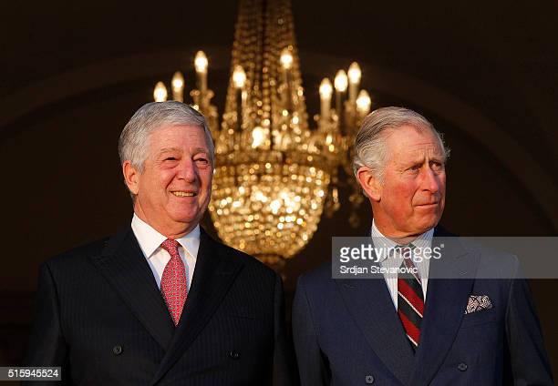 Prince Charles Prince of Wales meets with Alexander Karadjordjevic Crown Prince of Yugoslavia during the first day of a two day visit to Serbia on...